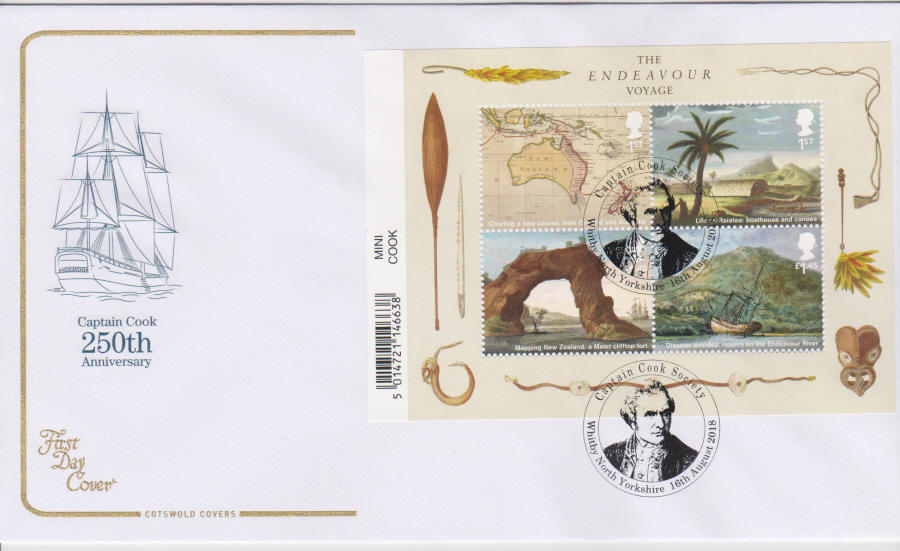2018 Cotswold FDC - Captain Cook Mini Sheet Whitby North Yorkshire Postmark