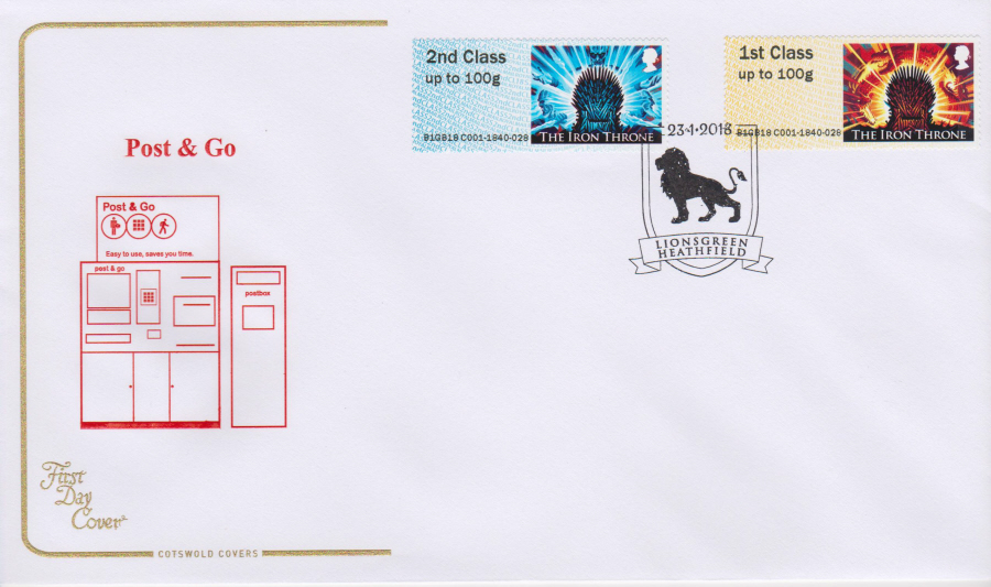 2018 Cotswold FDC - Post & Go - Game of Thrones- Lionsgreen Heathfield Postmark