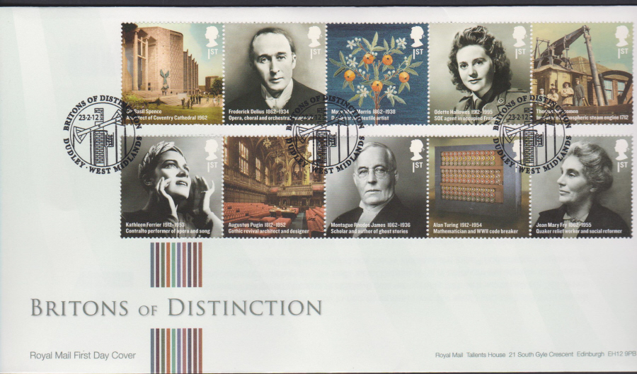 2012 - Britons of Distinction First Day Cover - Dudley West Midlands Postmark