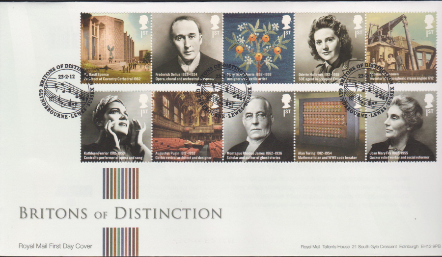 2012 - Britons of Distinction First Day Cover - Glyndbourne Lewes Sussex Postmark