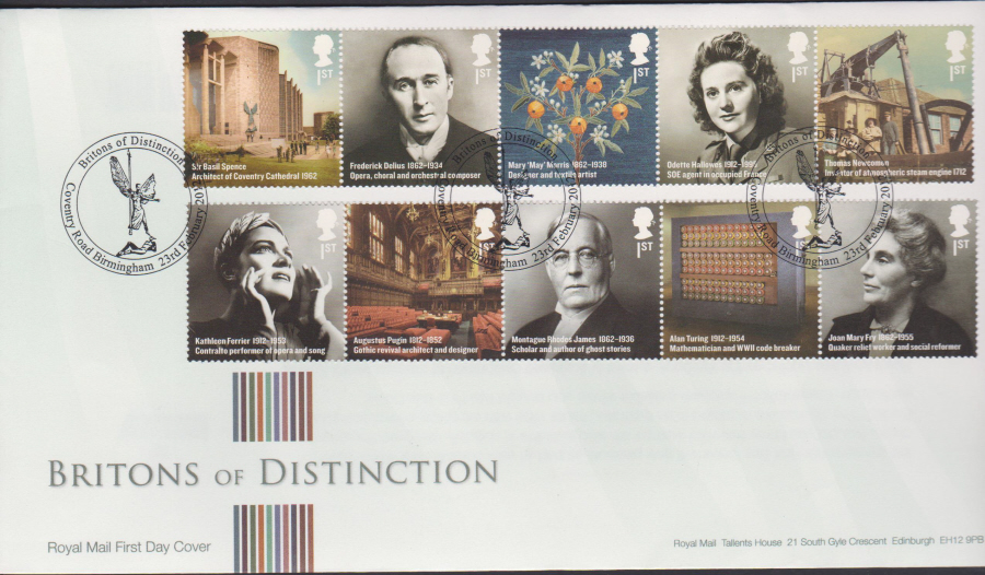 2012 - Britons of Distinction First Day Cover - Coventry Rd Birmingham Postmark