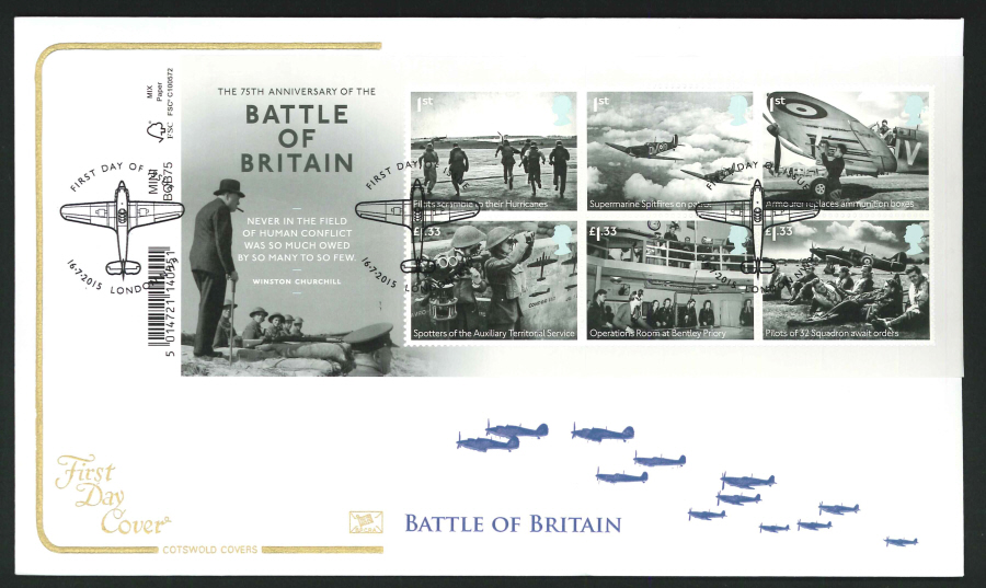 2015 - Battle of Britain Mini Sheet First Day Cover, Cotswold, FDI London NW9 Postmark