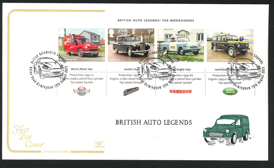 2013 - British Auto Legends Miniature Sheet Cotswold First Day Cover, Aston Road Birmingham Postmark