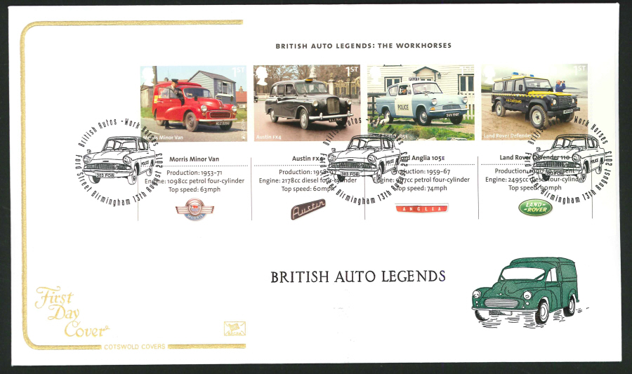 2013 - British Auto Legends Miniature Sheet Cotswold First Day Cover, Ford Street Birmingham Postmark