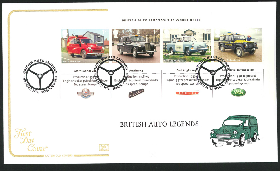 2013 - British Auto Legends Miniature Sheet Cotswold First Day Cover,Gaydon Postmark