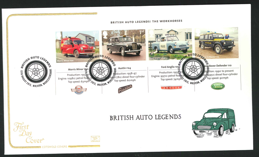 2013 - British Auto Legends Miniature Sheet Cotswold First Day Cover, Malvern Postmark