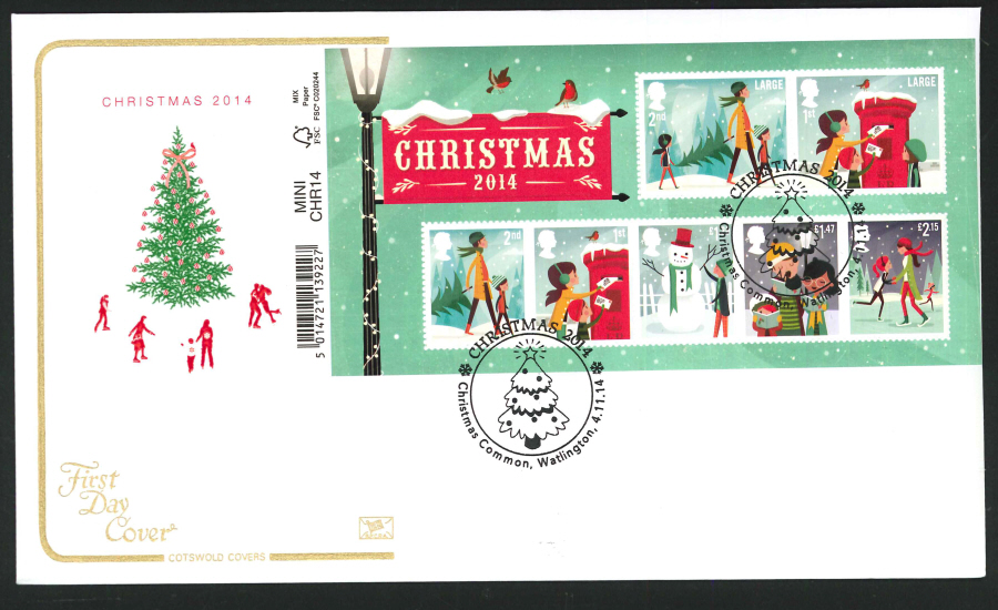 2014 Christmas Mini Sheet,COTSWOLD, FDC Christmas Common Handstamp