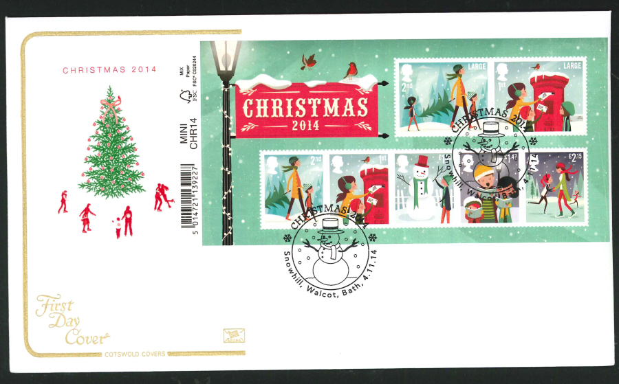 2014 Christmas Mini Sheet,COTSWOLD, FDC Snowhill, Bath Handstamp