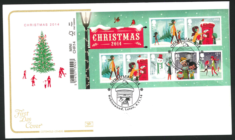 2014 Christmas Mini Sheet,COTSWOLD, FDC Robinswood Handstamp