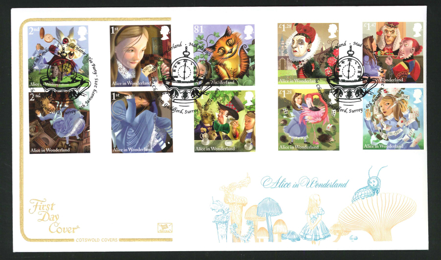 2014 Alice in Wonderland ,COTSWOLD, FDC Guildford ( Watch)Handstamp