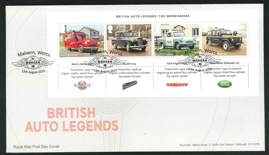 2013 - British Auto Legends Miniature Sheet First Day Cover, Morgan / Malvern Worcs Postmark