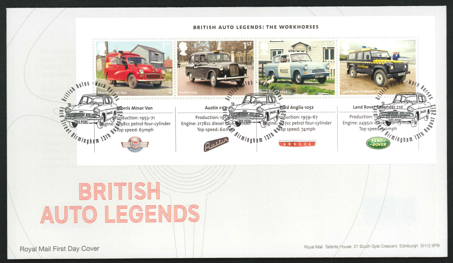 2013 - British Auto Legends Miniature Sheet First Day Cover, Ford Street Birmingham Postmark