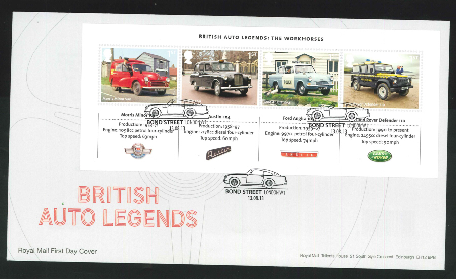 2013 - British Auto Legends Miniature Sheet First Day Cover, Bond Street London W1 Postmark