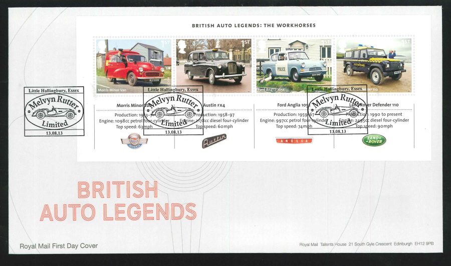 2013 - British Auto Legends Miniature Sheet First Day Cover, Melvyn Rutter Essex Postmark