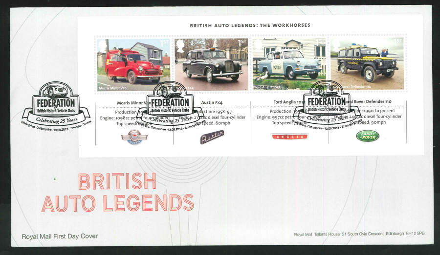 2013 - British Auto Legends Miniature Sheet First Day Cover, Wallingford/ Historic Vehicle Clubs Postmark
