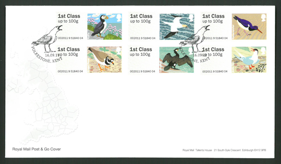 2011 Royal Mail Birds of Britain 4 Post & Go First Day Cover, Folkstone Kent Postmark