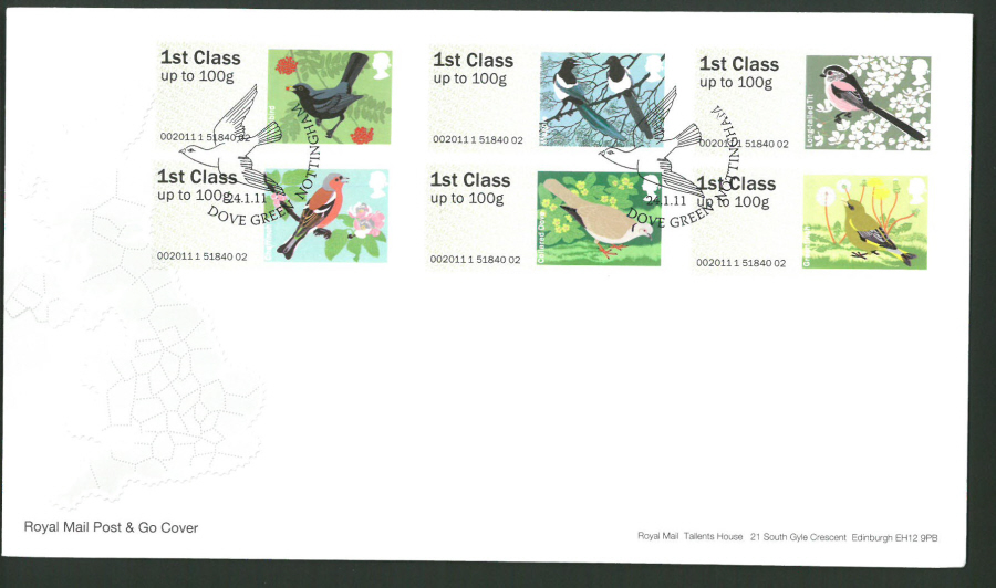 2011 Royal Mail Birds of Britain 2 Post & Go First Day Cover, Dove Green Nottingham Postmark