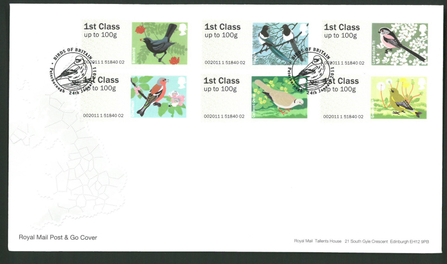 2011 Royal Mail Birds of Britain 2 Post & Go First Day Cover,Peterborough Postmark