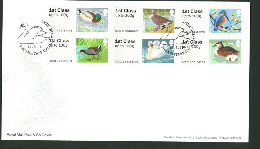 2011 Royal Mail Birds of Britain 3 Post & Go First Day Cover, The Military Canal Hythe Postmark