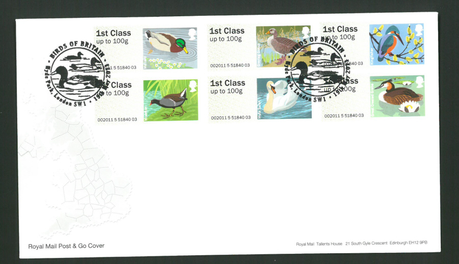 2011 Royal Mail Birds of Britain 3 Post & Go First Day Cover,Hyde Park London S W 1 Postmark