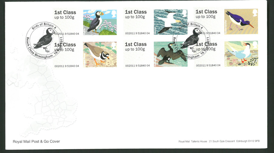 2011 Royal Mail Birds of Britain 4 Post & Go First Day Cover, Beach Close Birmingham Postmark