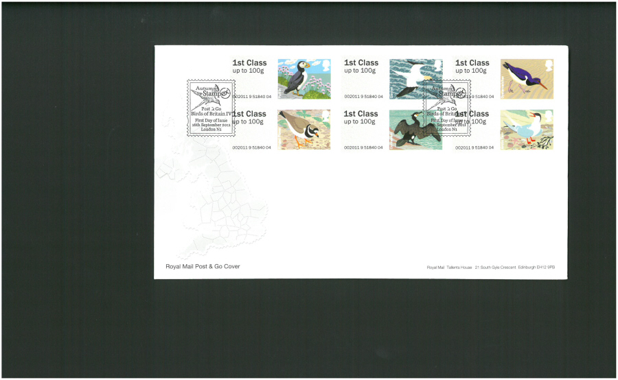 2011 Royal Mail Birds of Britain 4 Post & Go First Day Cover, Stampex London N1 Postmark