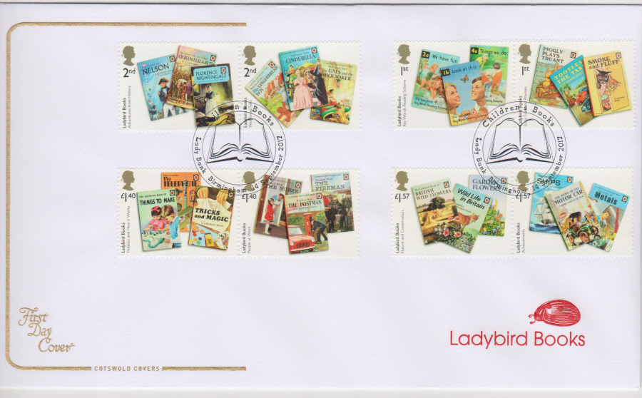 "2017 - First Day Cover ""Ladybird Books"", COTSWOLD, Lady Bank Birmingham Pictorial Postmark"