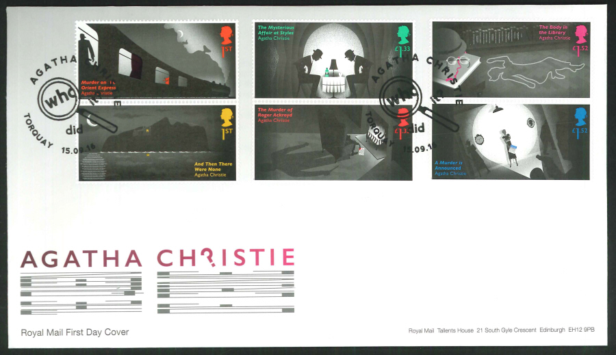 2016 - Agatha Christie, First Day Cover, Who Did It?, Torquay Postmark