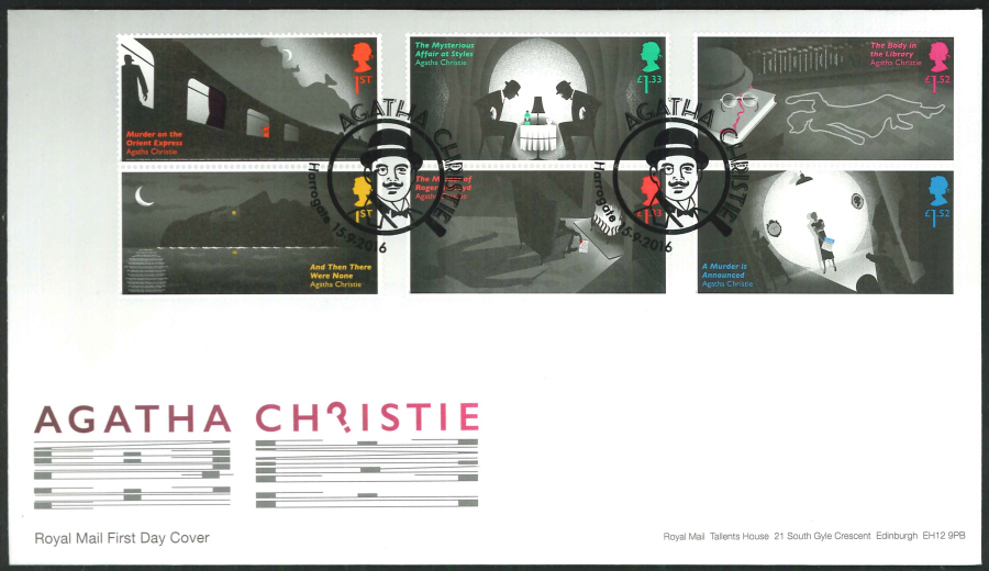 2016 - Agatha Christie, First Day Cover, Harrogate Postmark