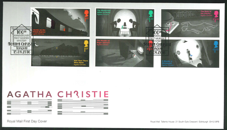 2016 - Agatha Christie, First Day Cover, 100th Anniversary First Murder Mystery, Torquay Postmark