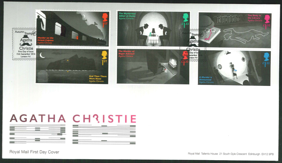 2016 - Agatha Christie, First Day Cover, Autumn Stampex FDI, London N1 Postmark