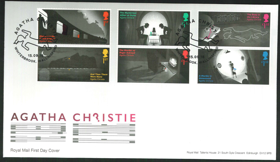 2016 - Agatha Christie, First Day Cover, 'Body' Winterbrook, Wallingford Postmark