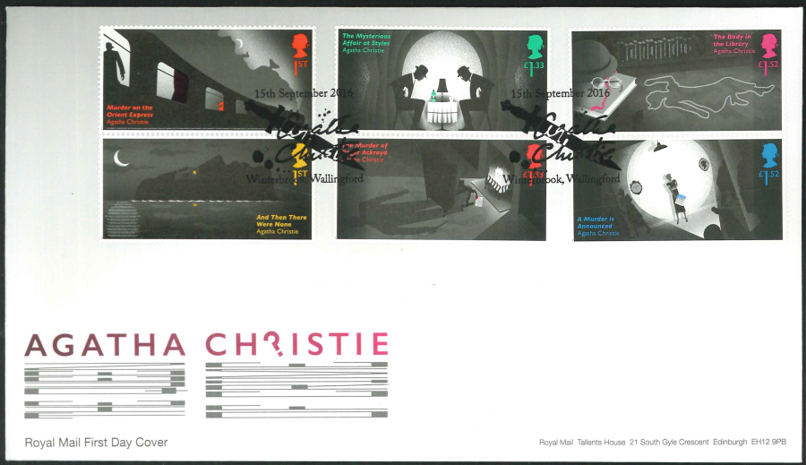 2016 - Agatha Christie, First Day Cover, 'Dagger' Winterbrook, Wallingford Postmark