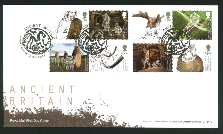 "2017 - First Day Cover ""Ancient Britain"" - Maiden Castle Dorchester Postmark"