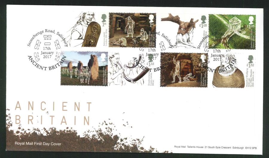 "2017 - First Day Cover ""Ancient Britain"" - Stonehenge Road Salisbury Postmark"