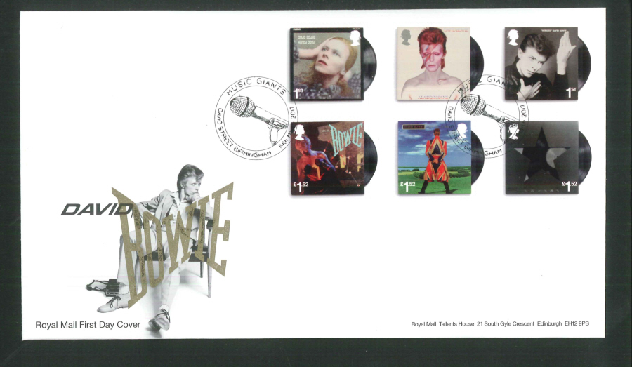 "2017 - First Day Cover ""David Bowie"" - Music Giants, David Street, Birmingham Postmark"