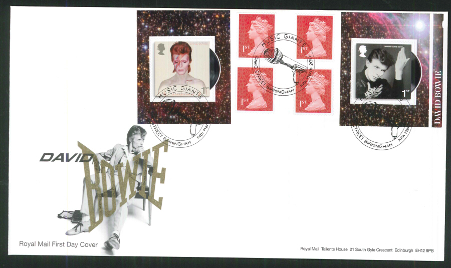 "2017 - First Day Cover ""David Bowie"" - Retail Book Music Giants, David Street, Birmingham Postmark"