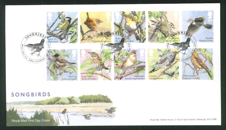 "2017 - First Day Cover ""Songbirds"" - Wrens Park Avenue, Sutton Coldfield Postmark"