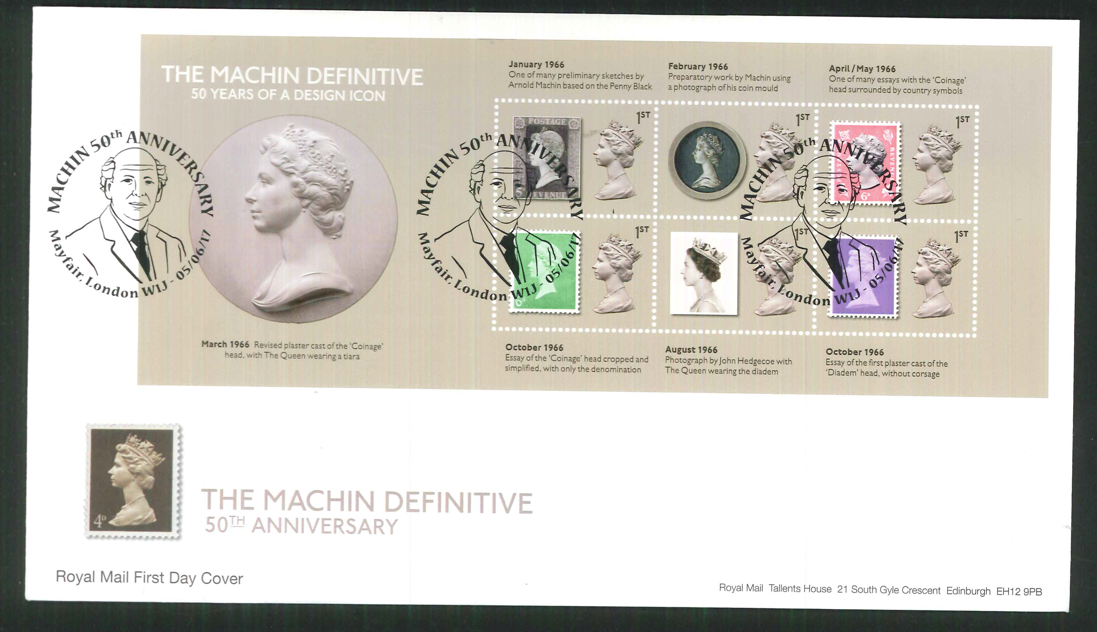 2017 - First Day Cover Machin Mini Sheet 61st Mayfair London Postmark