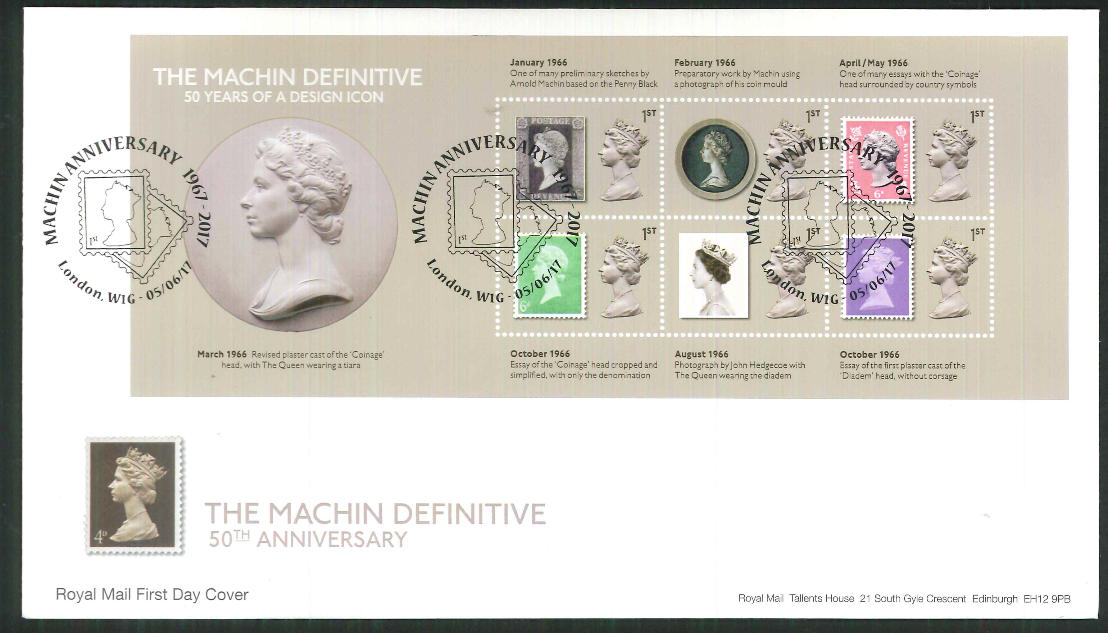 2017 - First Day Cover Machin Mini Sheet 6 1st London W1GPostmark