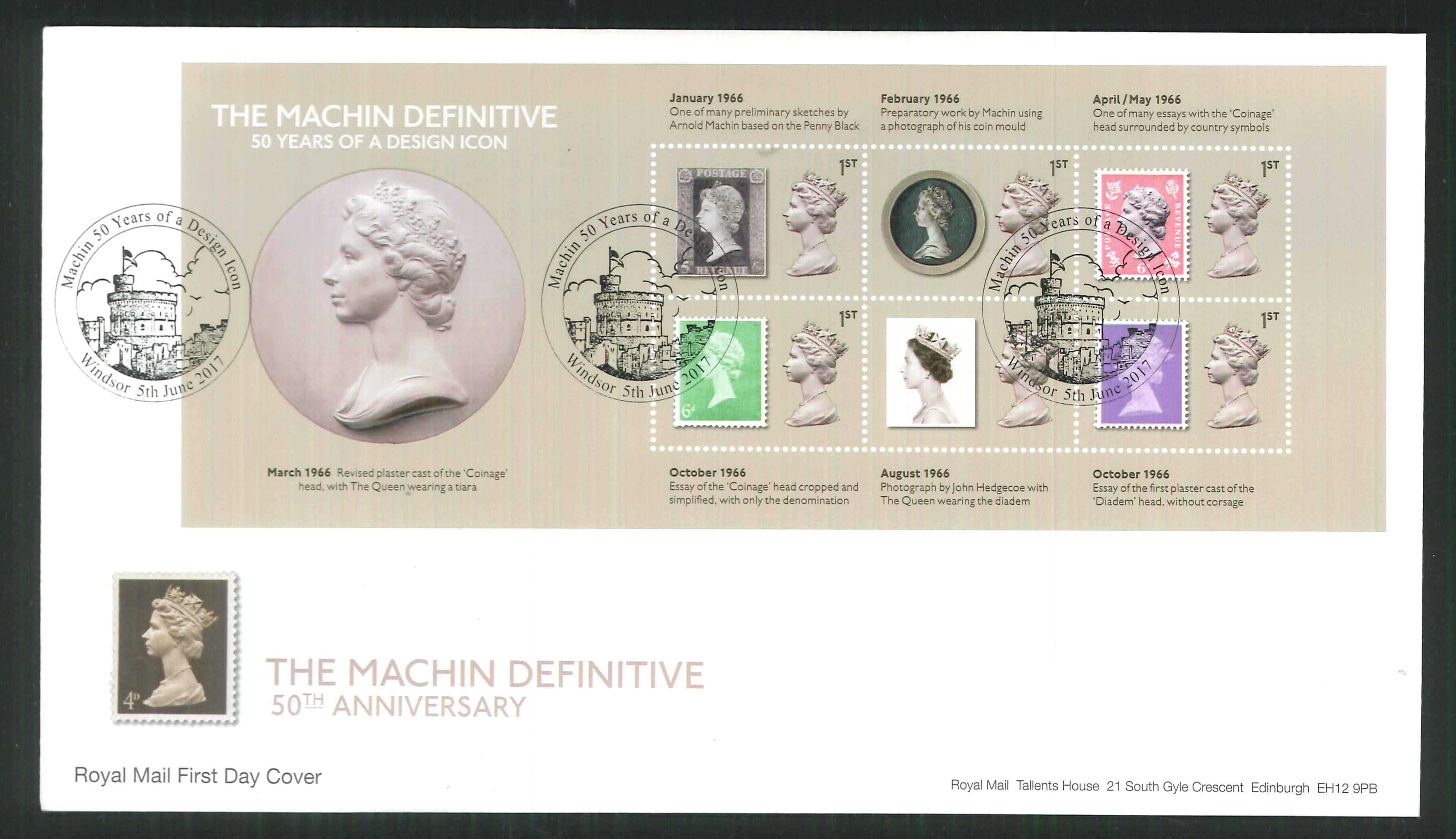 2017 - First Day Cover Machin Mini Sheet 6 1st Windsor Postmark