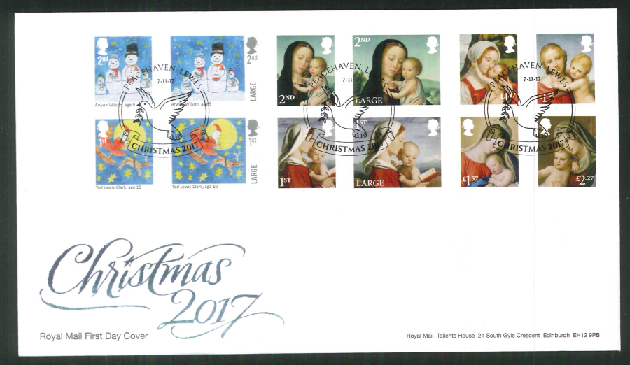 2017 Christmas FDC - Peacehaven, Lewes (Dove) Postmark