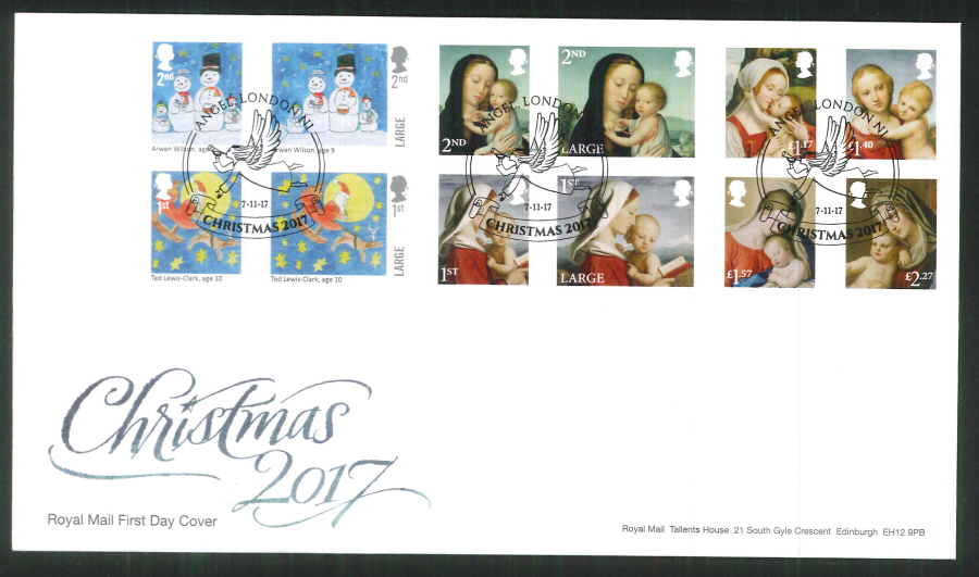 2017 Christmas FDC - Angel, London N1 (Angel) Postmark