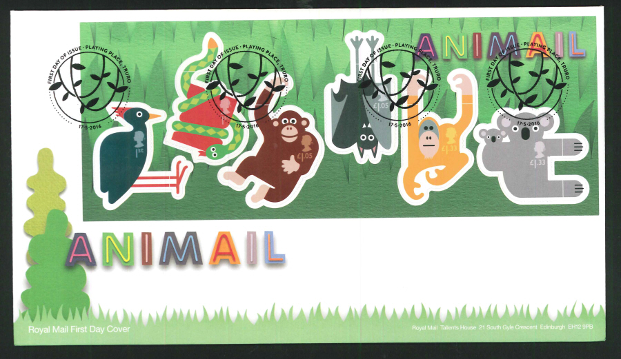 2016 - Animail Animals Minisheet, First Day Cover, Playing Place Truro Pictorial Postmark