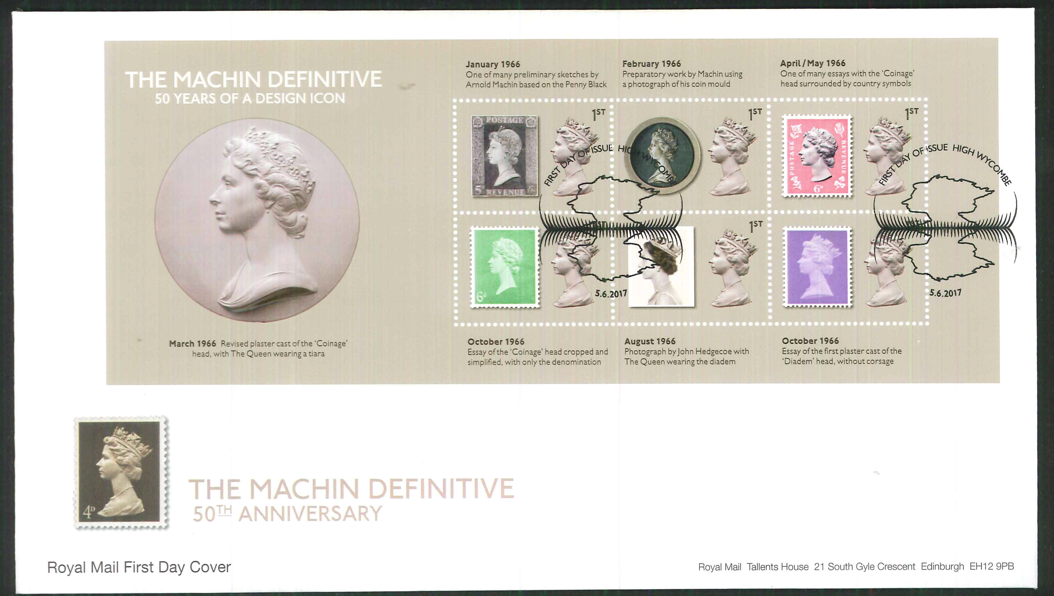 2017 - First Day Cover Machin Mini Sheet 6 1st FDI High Wycombe Postmark
