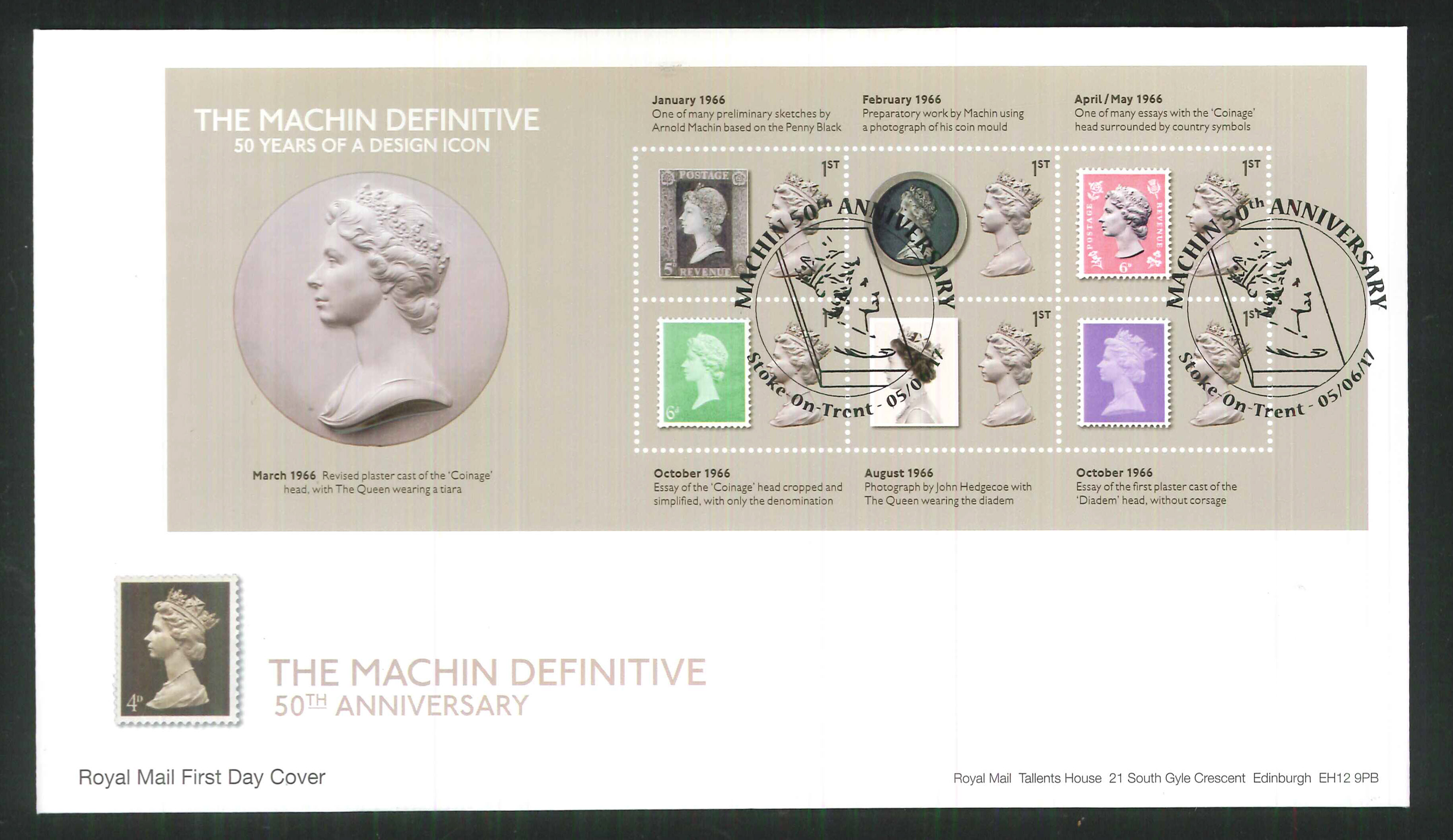 2017 - First Day Cover Machin Mini Sheet 6 1st 50th Anniv Stoke on Trent Postmark