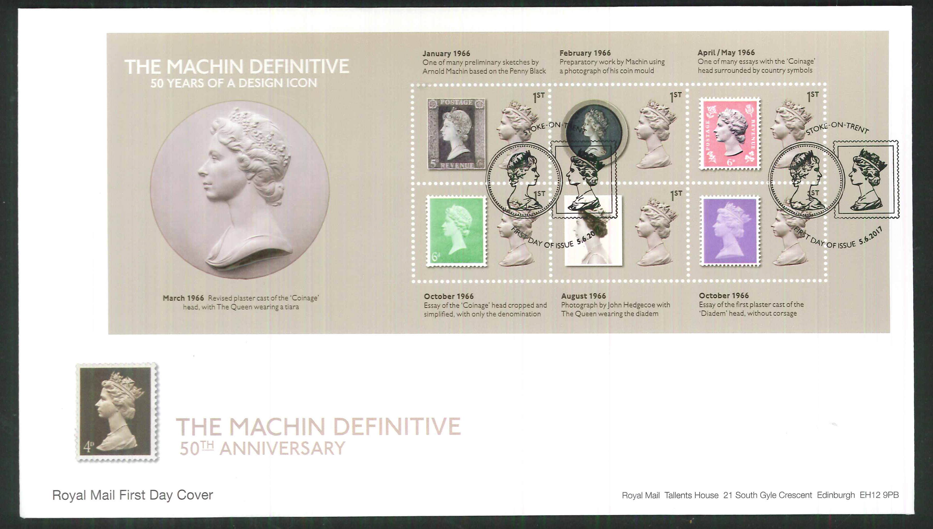 2017 - First Day Cover Machin Mini Sheet 6 1st FDI Stoke on Trent Postmark