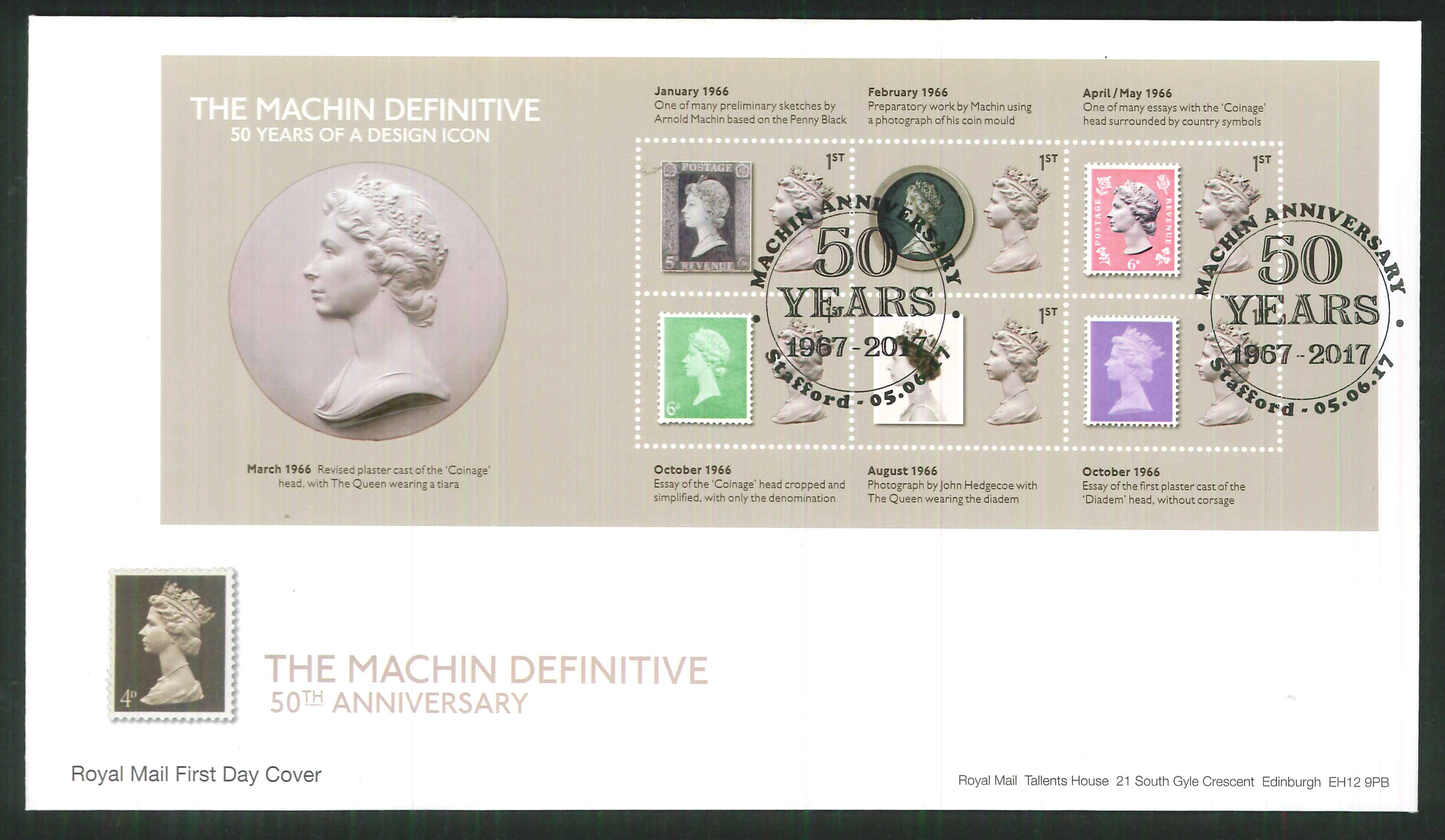 2017 - First Day Cover Machin Mini Sheet 6 1st. 50 Years Stafford Postmark