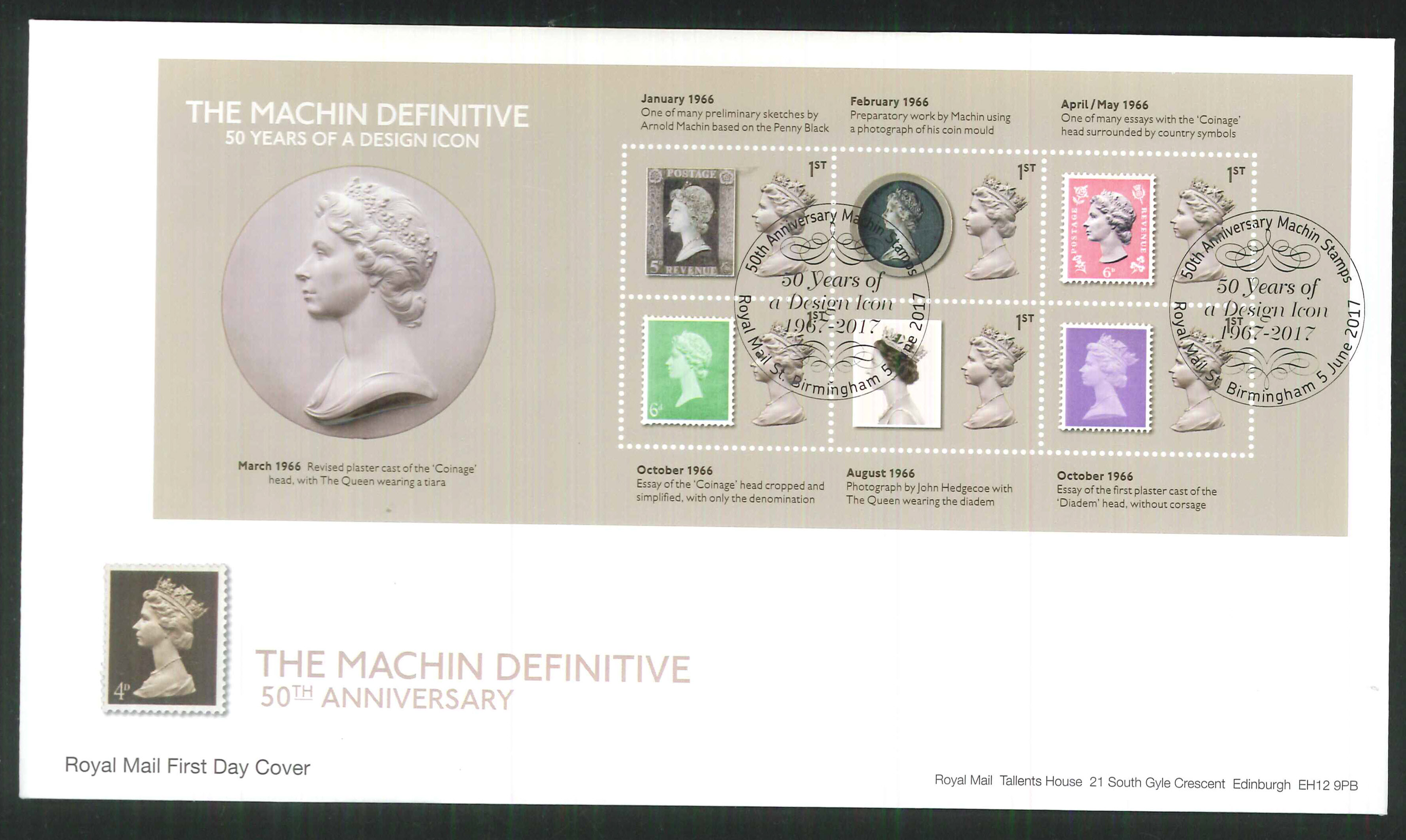 2017 - First Day Cover Machin Mini Sheet 6 1st Royal Mail St Postmark