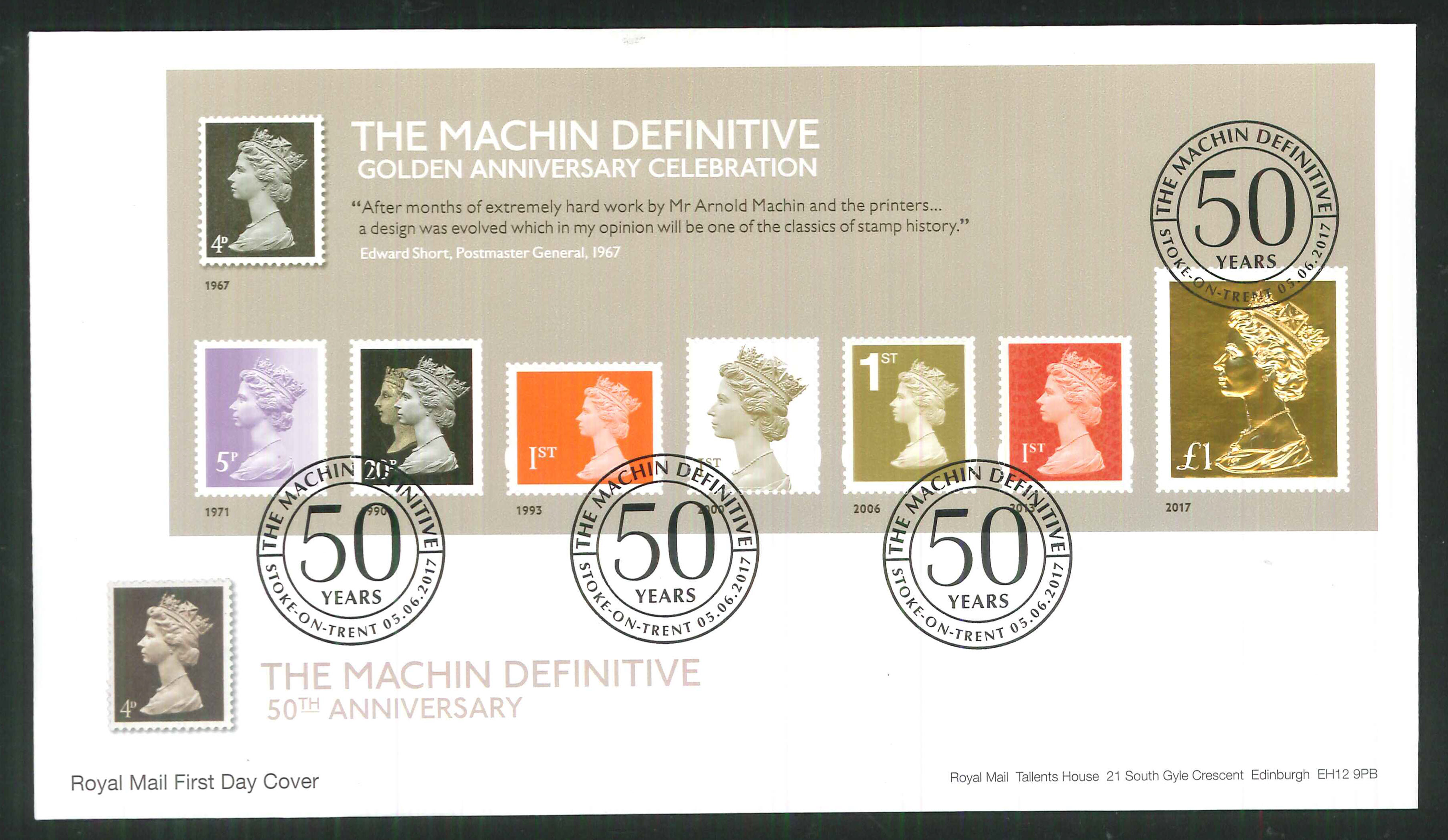 2017 - First Day Cover Machin Mini Sheet Gold 50 Years Stoke on Trent Postmark